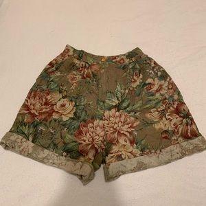 Vintage floral high waisted shorts